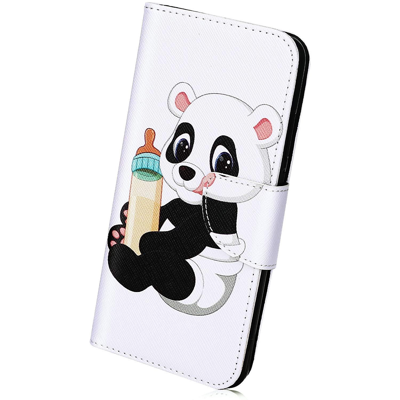 Herbests Kompatibel mit Huawei P30 Lite Handyh/ülle Leder Wallet Klapph/ülle Ledertasche Brieftasche Handytasche Wallet Case Flip H/ülle Bookstyle Cover mit St/änder Kartenfach,Hallo Panda
