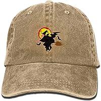Wdskbg Harvest Moon Halloween Witch Unisex Adjustable Cowboy Hat Denim Baseball Caps