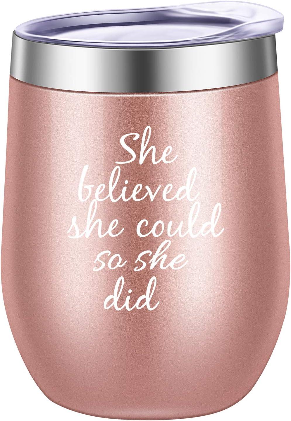 She Believed She Could So She Did Wine Tumbler Mug,Spiritual Inspiritional Gifts for Women,Congratulations, Graduation,Going Away,Job Change,Congrats,Birthday Gift 12 oz