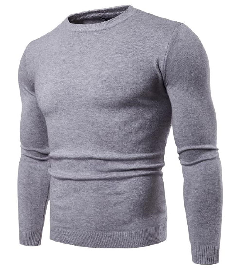 DressUMen Britain Pure Color O-Neck Knitting Chic Soft Pullovers Sweater
