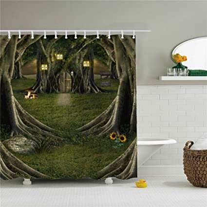 Amazon Odd Tree Shower Curtain Set Waterproof 69x84 Home
