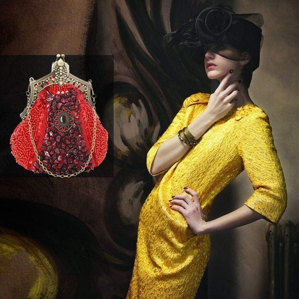 monederos con Cuentas Vintage con Cadena Duradera Cartera de Mujer Monedero con Cuentas Antiguo Bolso de Embrague de Noche for Mujeres ni/ñas Color : Champagne, Size : M