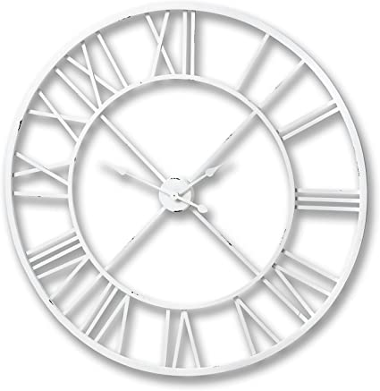 Large 100cm Cut Out White Distressed Metal Skeleton Wall Clock W Roman Numerals Amazon Co Uk Kitchen Home