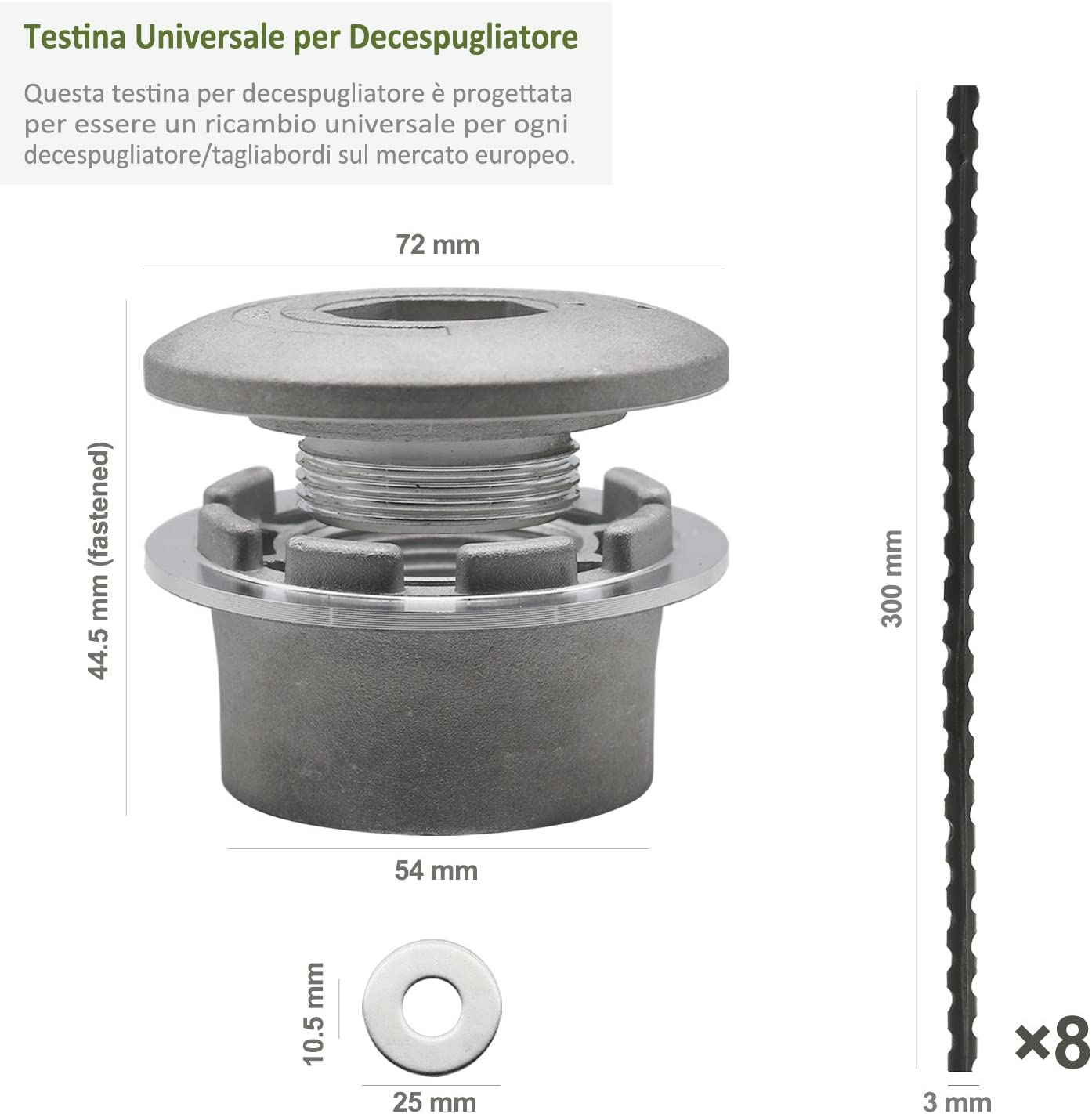 Cabezal Desbrozador Universal (Aluminio) con 8 Piezas 30cm Hilo ...