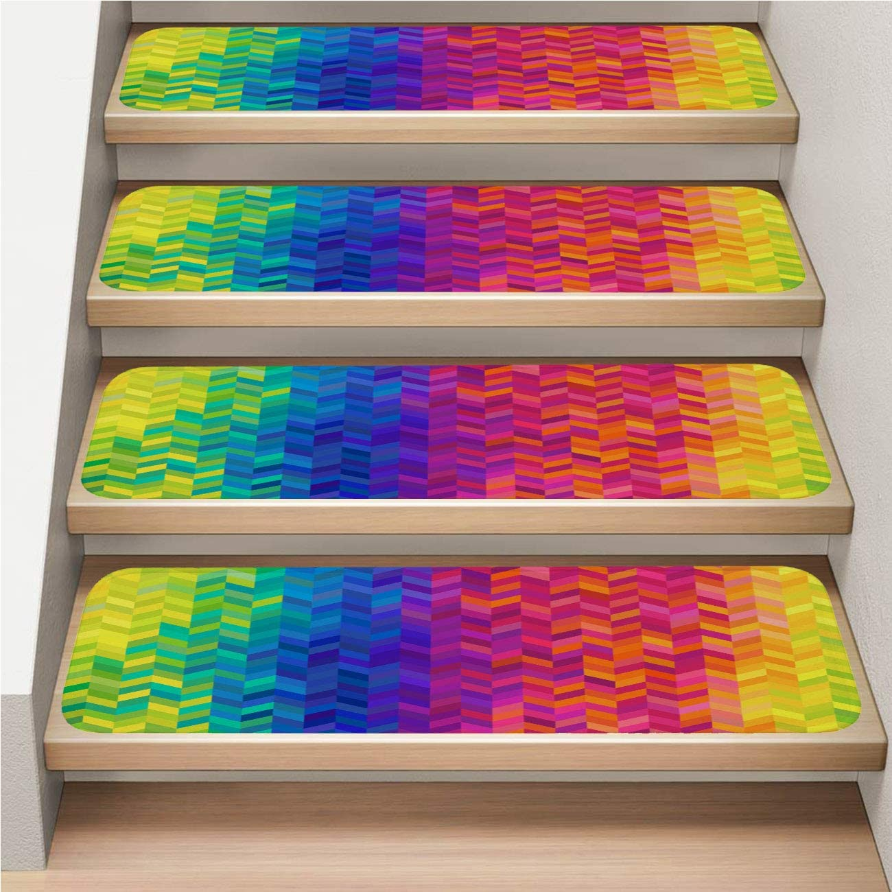Rainbow 13-Pack Carpet Stair Treads Set, Non-Slip, Soft,Rhombus Rainbow Color Abstract Background,rotection Kids, Elders, and Dogs Safety