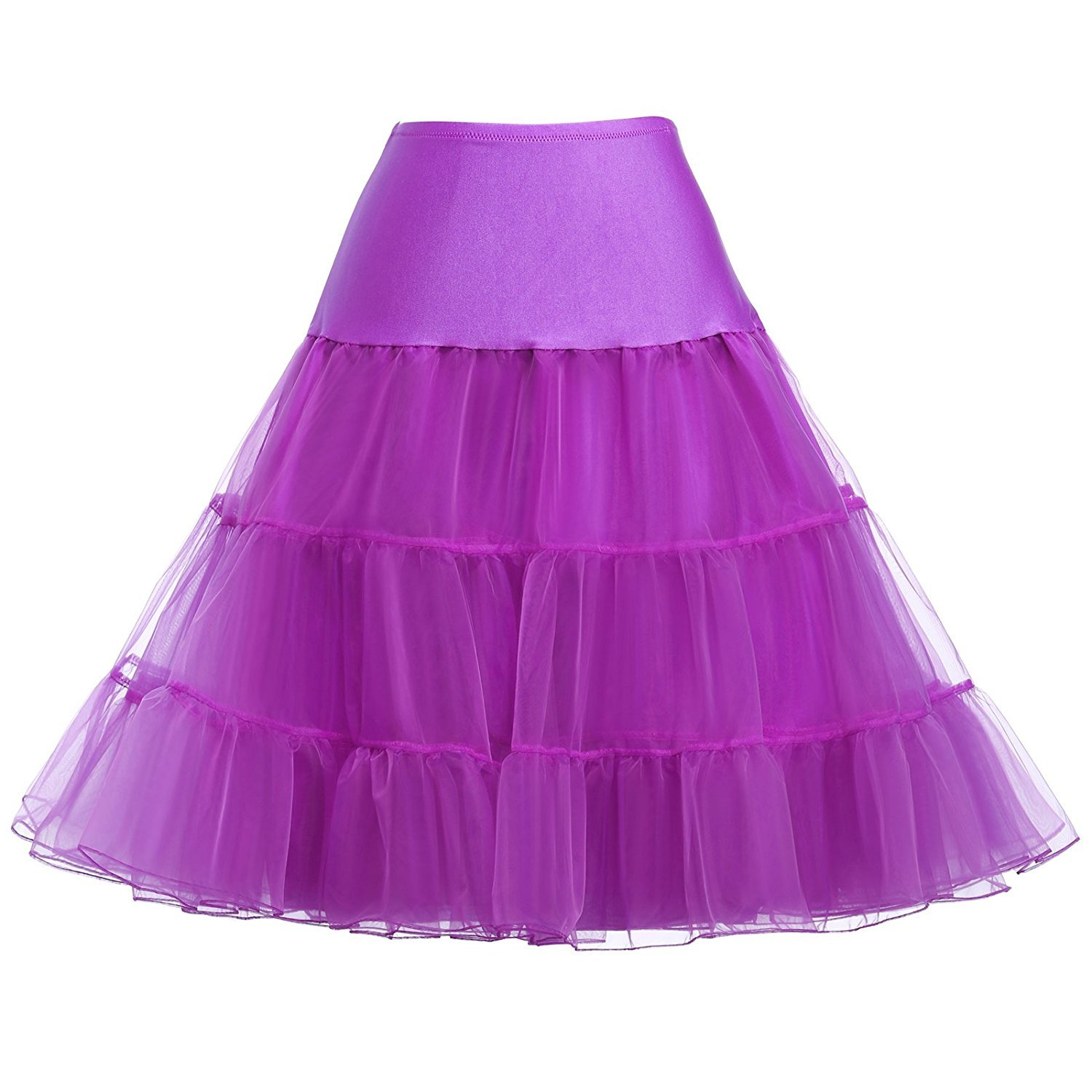 Wishopping Women 1950s Rockabilly Tutu Skirt Crinoline Petticoat P18 Purple Size L WP18PL-L