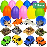 "Libay 12 Pcs Filled Easter Eggs Toys Prefilled with Pull Back Alloy Vehicles, Tanks and Airplanes, 3.35"" Jumbo Easter Eggs Car Toys for Kids Easter Eggs Hunt, Basket Stuffers Fillers and Easter Theme Party Favor"