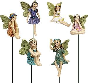 Dorlotou Fairy Garden Figurines 6pcs Miniature Fairies for Outdoor Garden Decor