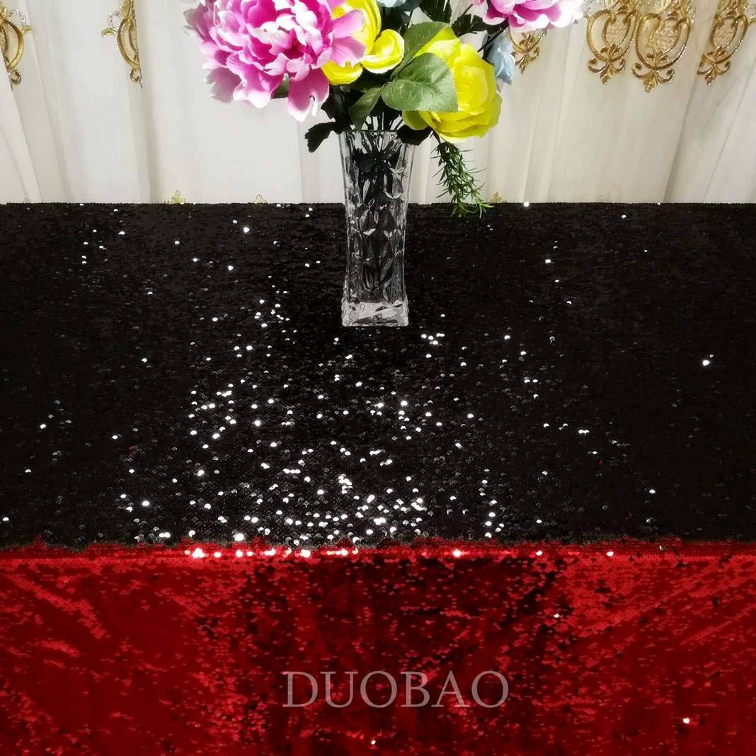 DUOBAO Sequin Tablecloth 60x84-Inch Black Mermaid Sequin Fabric Red to Black Glitter Tablecloth Reversible tablecloths for Rectangle Tables~0516 by DUOBAO (Image #4)