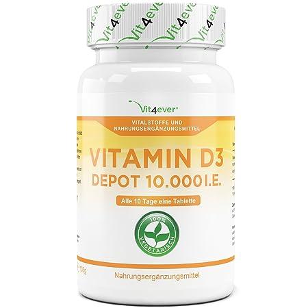 Vit4ever® Vitamin D3 10.000 I.E. Depot 365 Tabletten - Hochdosiert - Vegetarisch - 10 Tagesdosis 1000 I.E. pro Tag - Vitamin