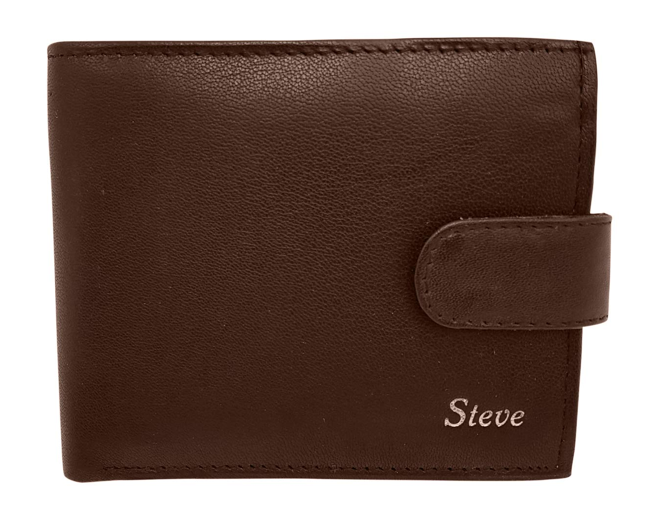 Personalised RFID Blocking Mens Designer Wallet - Black - Genuine Leather - Keep Your Money Safe - Large Coin Zipped Coin Pocket with Gift Box