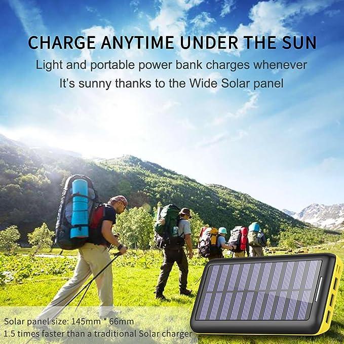Cargadores Solare Power Bank, BERNET 24000mAh Batería Externa con 3 Puertos de Salida USB y Entrada Doble(Lighting y Micro) con Solar Cargador ...