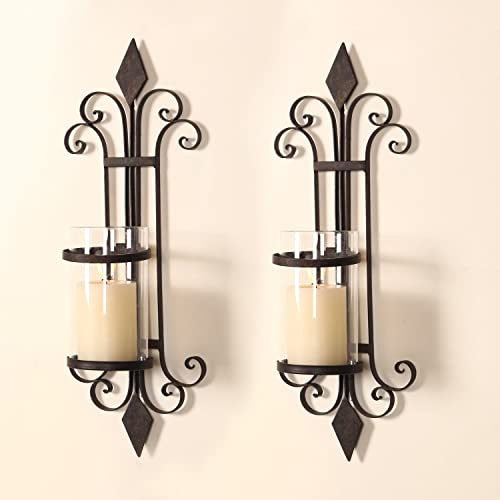Adeco HD0006 Iron Glass Vertical Wall Hanging Candle Holder Sconce