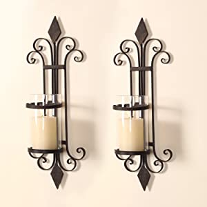 Adeco HD0006 Iron & Glass Vertical Wall Hanging Candle Holder Sconce, Scroll & Diamond Design, Holds One Pillar Candle (Set of Two) Black with Antique Finish