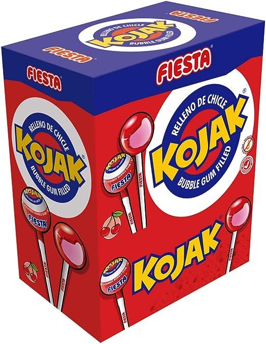 FIESTA Kojak Caramelo con Palo Sabor Cereza Relleno de Chicle - Caja de 100 unidades: Amazon.es: Alimentación y bebidas