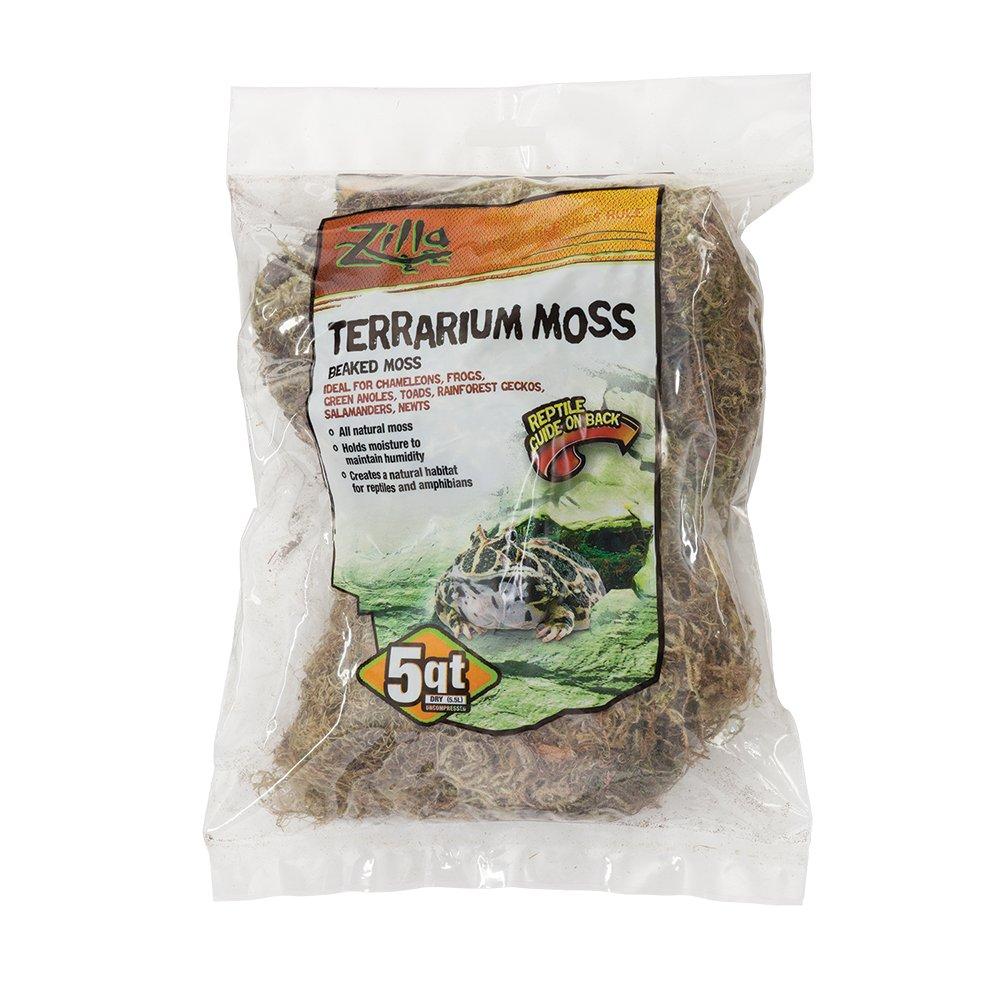Zilla Reptile Terrarium Bedding Substrate Beaked Moss, 5-Quart