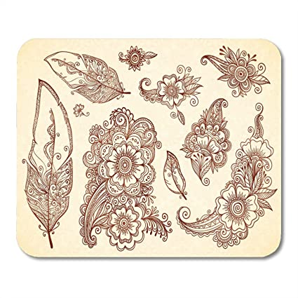 Amazon Com Emvency Mouse Pads Outline Indian Flowers And Feathers