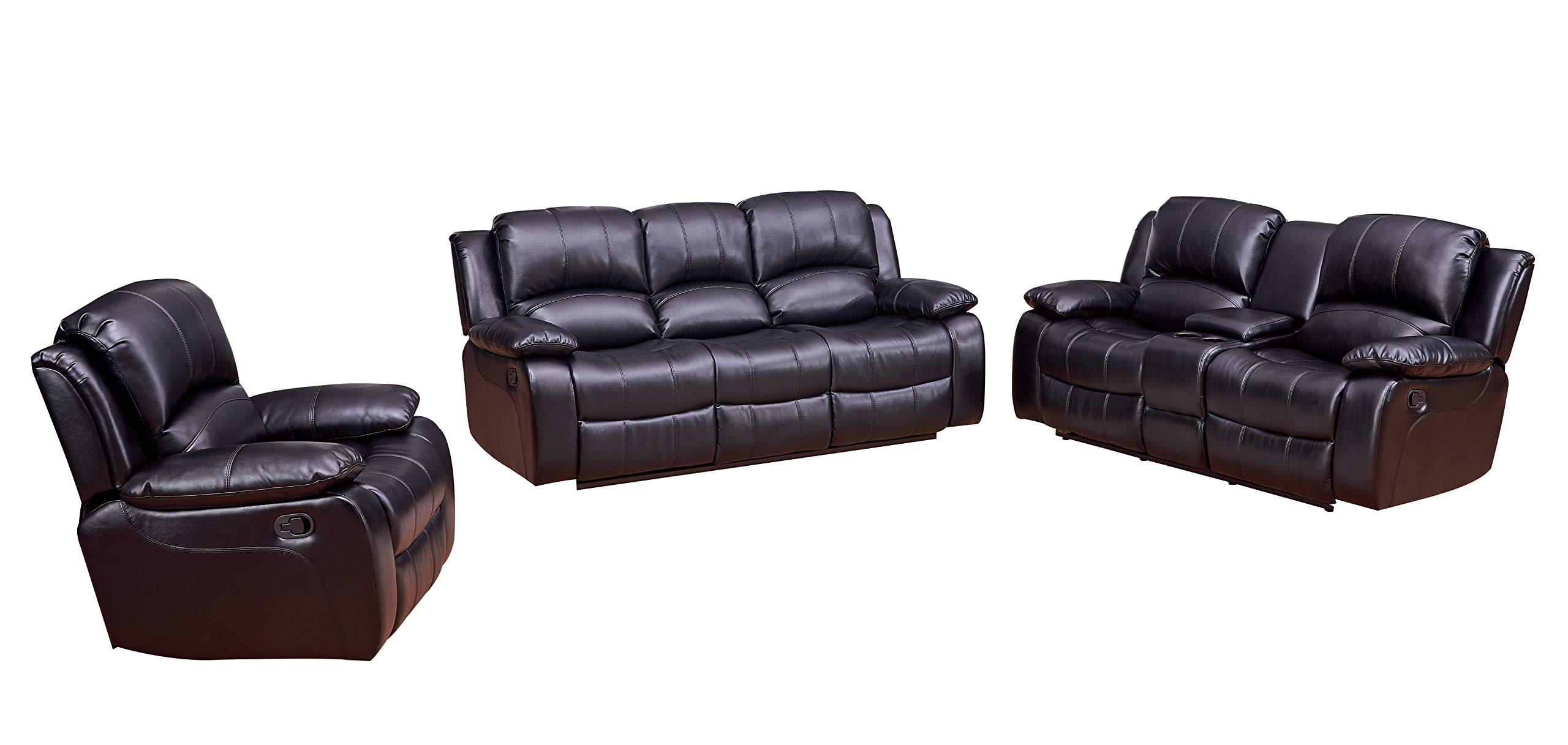 Betsy Furniture 3-PC Bonded Leather Recliner Set Living Room Set in Black, Sofa + Loveseat + Chair, Pillow Top Backrest and Armrests 8018-321 by Betsy Furniture
