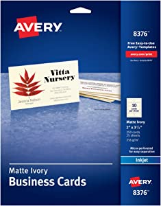 """Avery 2"""" x 3.5"""" Ivory Business Cards, Sure Feed Technology, for Inkjet Printers, 250 Cards (8376)"""