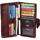GLEAM 100% Genuine Leather Travel Passport Case / Debit & Credit Card Holder /Cheque Book Holder / Document Wallet /Money Wallet Purse-DARK BROWN