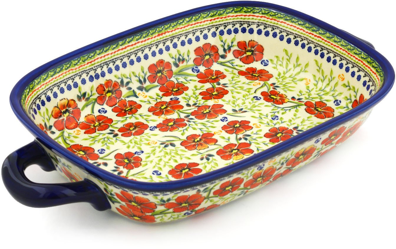 Polish Pottery Rectangular Baker with Handles 18-inch Amazing Concept UNIKAT