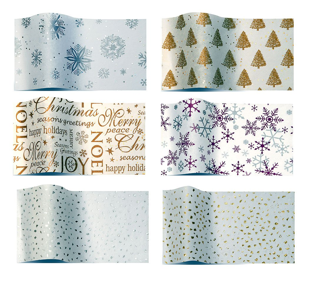 Christmas Set 2 gold and silver x 6 of tissue wrapping papers 6 packs of 5 sheets - Diamond snowflakes gold pearl trees noel gemstone silver purple snowflakes silver reflections gold reflections Suttons wrap