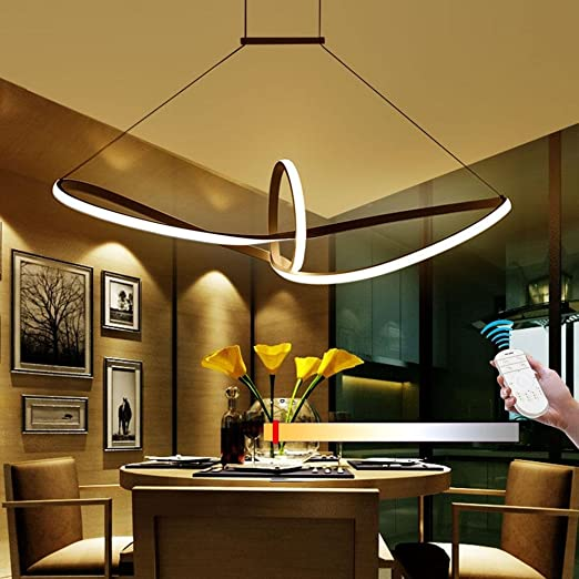 Hireomi R Modern LED Elegant Ceiling Light Living Room Bedroom Lamp Dining Design Curved Chandelier With 900 MM Color Temperature
