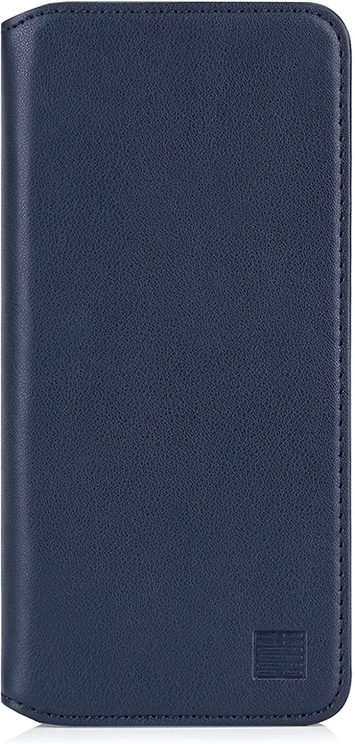 "32nd Classic Series 2.0 - Real Leather Book Wallet Case Cover for Apple iPhone 12 (6.1"") / iPhone 12 Pro (6.1""), with Card Slot, Magnetic Closure and Built in Stand - Navy Blue"