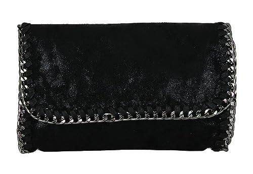 Anush Clutch de mujer con aspecto de cuero pequeño brillo Look metálico con bolso de noche de cadena 07: Amazon.es: Zapatos y complementos