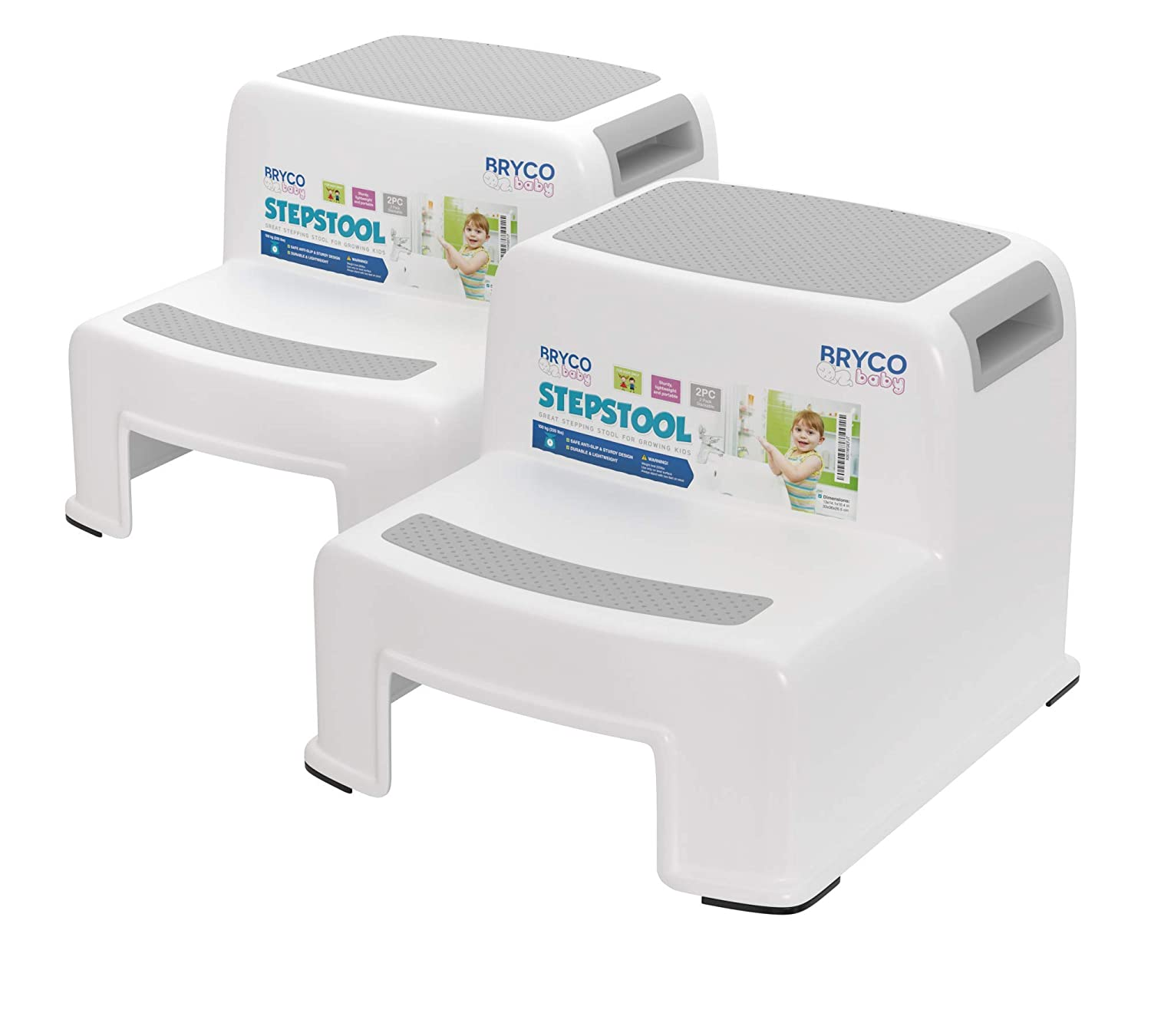 Bryco Baby Potty Training Step Stool - Set of Two - Two Step Design - Portable - Great for Potty Training at Home or Away