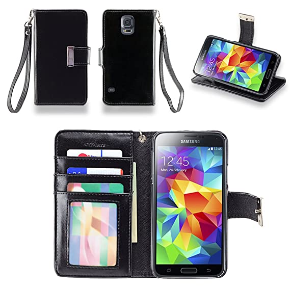 587c1e72a9a IZENGATE Samsung Galaxy S5 Executive Premium PU Leather Wallet Flip Case  Cover Folio Stand (Black
