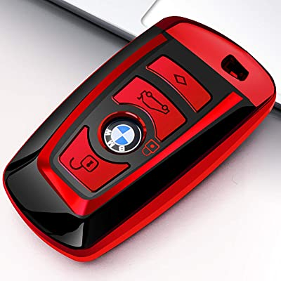 Uxinuo for BMW Key Fob Cover Case for BMW 1 3 4 5 6 7 Series and Compatible with BMW X3 X4 M2 M3 M4 M5 M6 Keyless Smart Remote, Red: Automotive