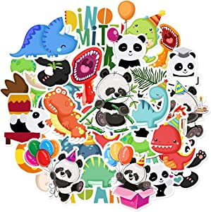 HaokHome S-025 134pcs Dinosaur Panda Stickers for Teens Kids Toddler Cars Stickers for Water Bottles Laptop Scrapbooking Hydro Flask Stickers Vsco Stickers Wall Stickers Room Decor