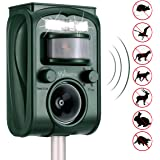 Wikomo Ultrasonic Animal Repeller, Solar Powered Waterproof Outdoor with Ultrasonic Sound, Motion Sensor and Flashing Light for Cats, Dogs, Squirrels, Moles, Rats