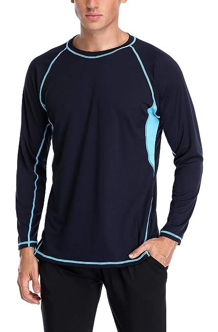 4e4822b940 Anwell Men's Rashguard Long Sleeve Suring Athletic Top Swim Shirt Navy  Medium