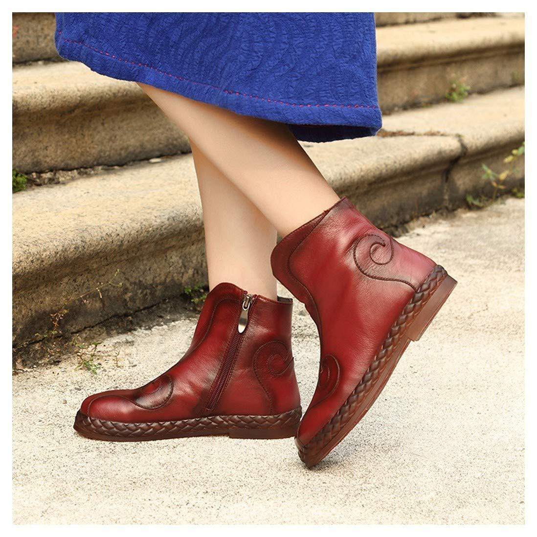 BeatinToes Frauen Retro Kurz Stiefel Handarbeit Natürliche Echt Leder Martin Stiefel Flachen Boden Seitliche Reißverschluss Wasserdicht Tabelle Reine Farbe Prägen Schuhe