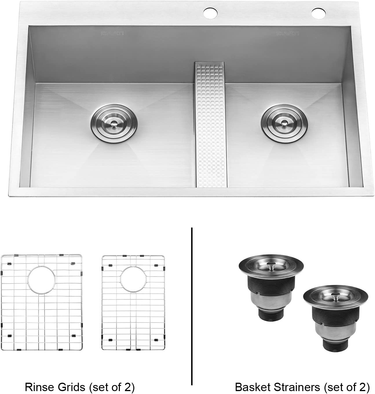 20 Gauge Stainless Steel 33 X 19 X 8 Double Bowl Top Mount Kitchen Sink