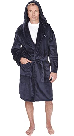 Insignia - Bata con capucha para hombre con lujoso forro de franela, para estar por casa Azul NAVY WITH LOGO Large: Amazon.es: Ropa y accesorios