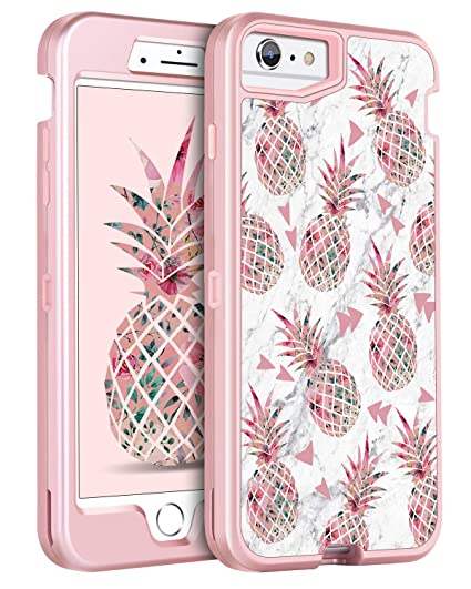 dc7c8eaf602f iPhone 6s Plus Case iPhone 6 Plus Case GUAGUA Pink Pineapple White Marble  Glossy Cover Girl