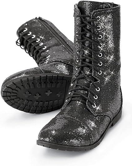 girls black glitter boots