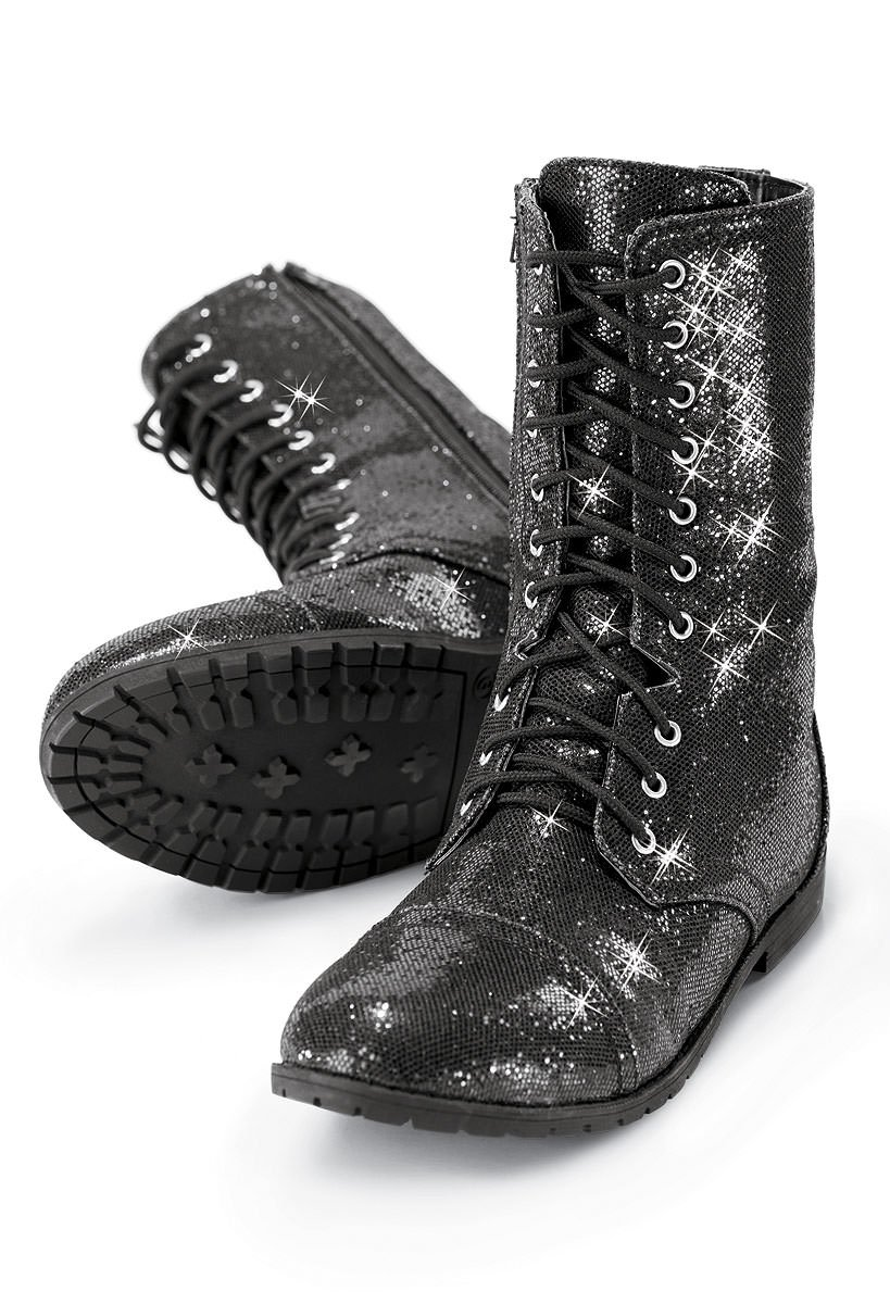 Balera Boots Girls Shoes For Dance Womens Combat Boots With Glitter and Zipper Rubber Sole Shoes
