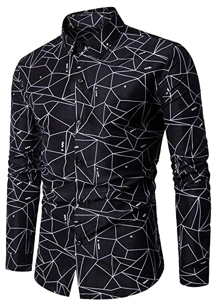 Jofemuho Mens Slim Casual Geometric Print Long Sleeve Button Down Dress Shirt