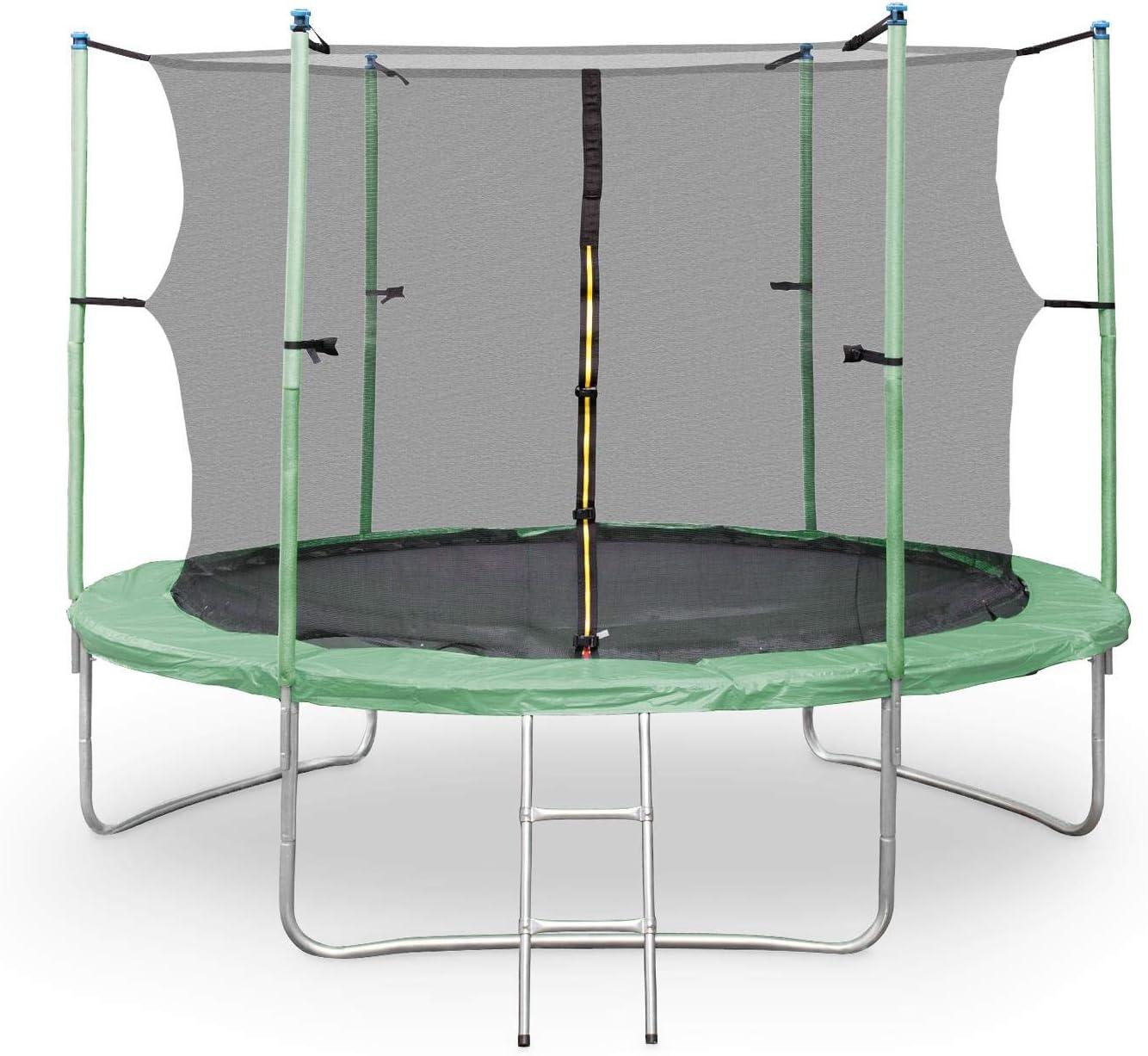 Klarfit Rocketstart XXXL - Cama elástica 400 cm Red de Seguridad Escalera de Aluminio Color Verde (Tubos de gomaespuma, 4 Patas Dobles, Lona Resistente Rayos del Sol, Protector de Lluvia, 150kg Carga: