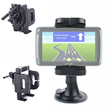 DURAGADGET Soporte Para Parabrisas De Coche Con Abrazadera Ajustable Para GPS Mio Spirit 687/685: Amazon.es: Electrónica