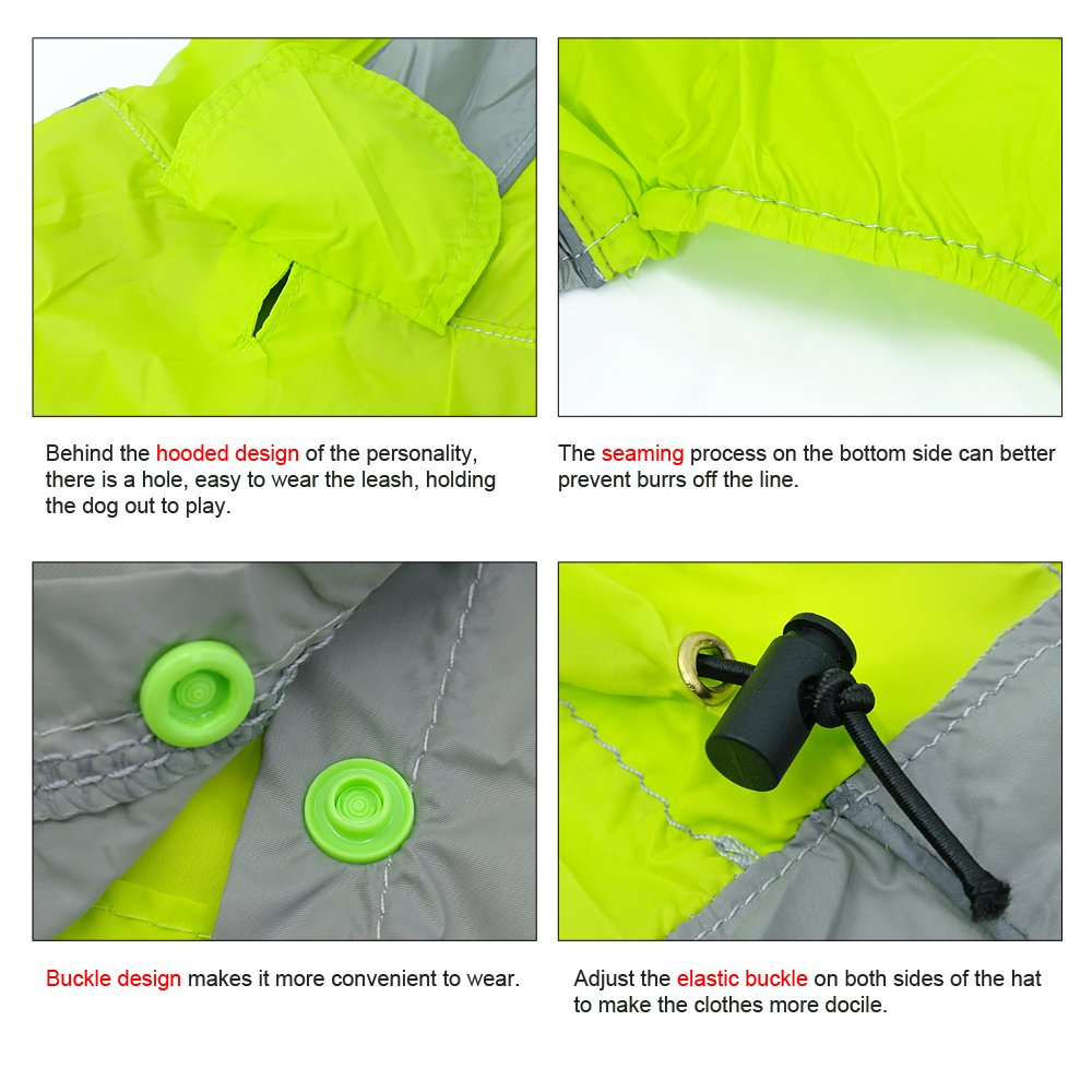 Reflective Waterproof Dog Raincoat - Lightweight and Breathable Hooded Rainwear for Medium Large Dogs - Green,31.5'' Back 35.5'' Chest for 2X-Large Dogs by Beirui (Image #4)