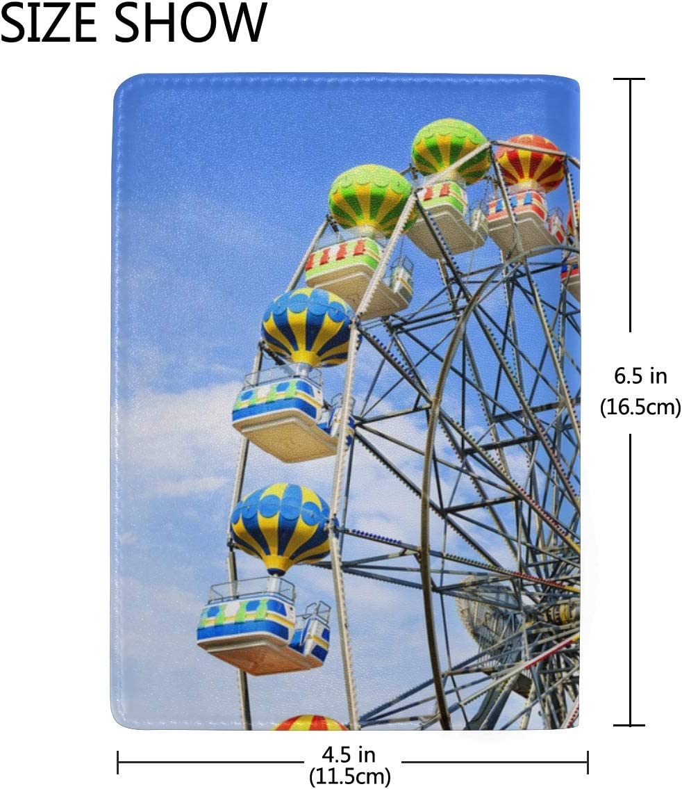 A Colourful Ferris Wheel Daytime Blocking Print Passport Holder Cover Case Travel Luggage Passport Wallet Card Holder Made With Leather For Men Women Kids Family