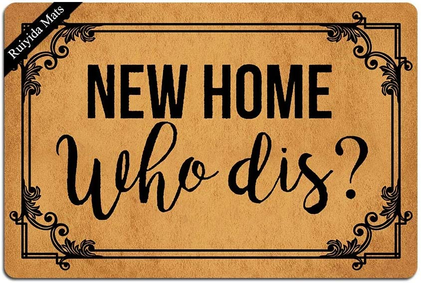 Ruiyida New Home Who Dis Welcome Doormat Custom Home Living Decor Housewares Rugs and Mats State Indoor Gift Ideas 23.6 by 15.7 Inch Machine Washable Fabric Top