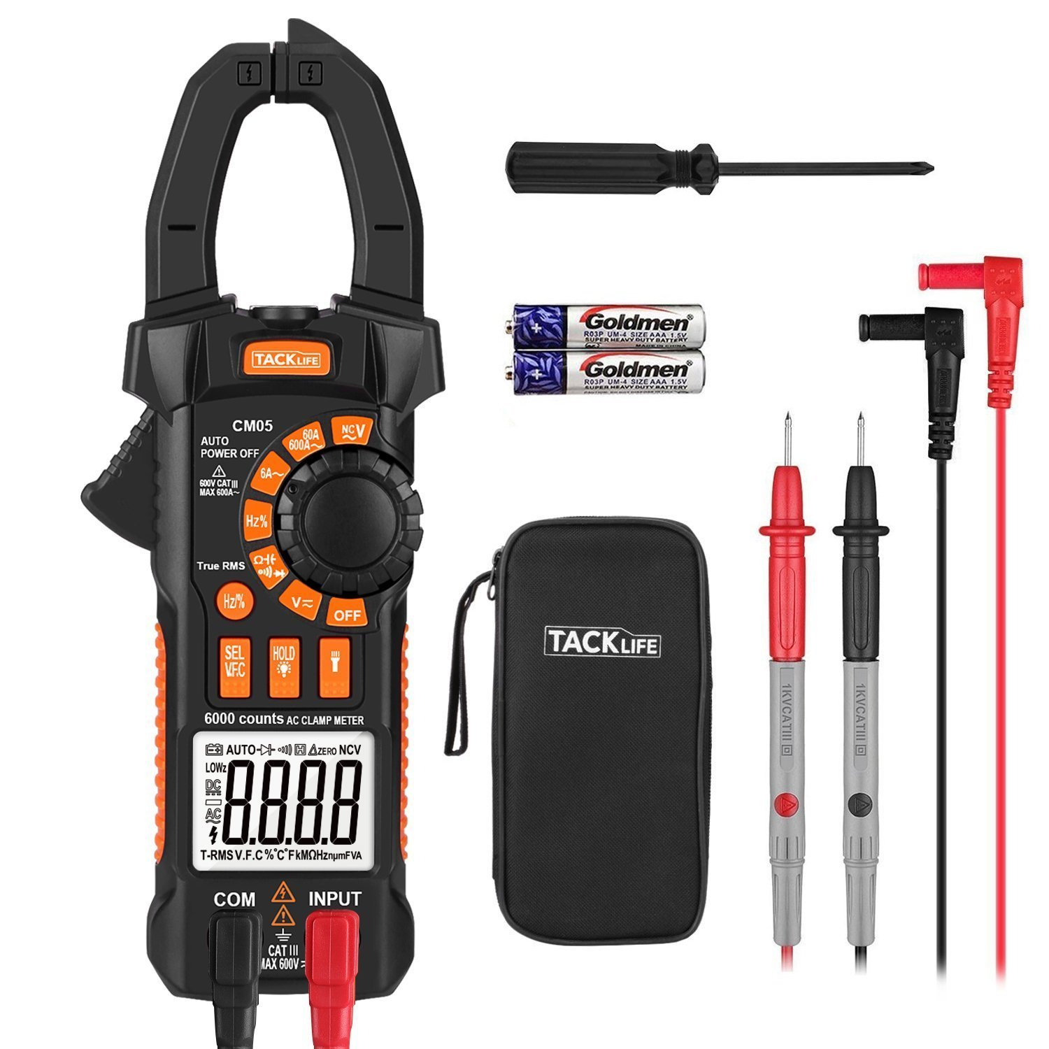 Clamp Meter, Tacklife CM05 Clamp Multimeters, 6000 Counts,AC/DC Voltage Tester, AC Current Detector, AC Signal Frequency, VFC, NCV, Resistor, Capacitor, Diode, Duty Cycle, Continuity Tester