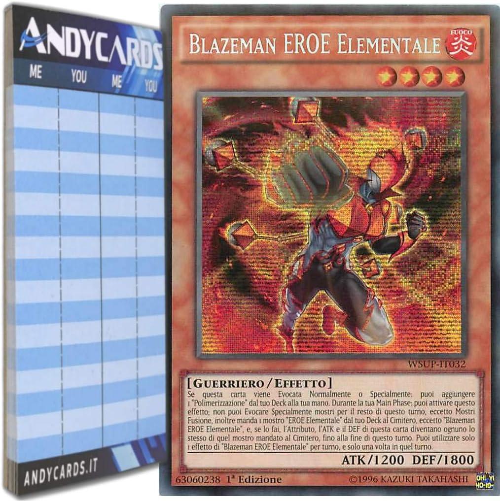 Set 3 Carte BLAZEMAN EROE ELEMENTALE in Italiano LEHD-ITA16 Comune YUGIOH D Cube