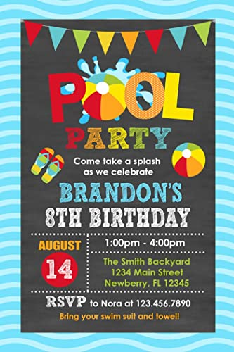 amazon com pool party birthday invitation pool party invite boy